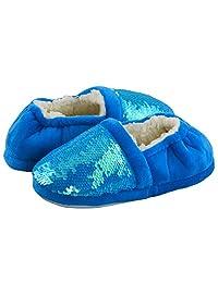 LULEX 女孩可爱闪亮屋子拖鞋毛绒温暖室内棉质*懒人鞋适合儿童