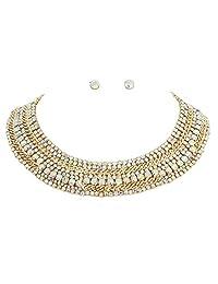 SP Sophia Collection 精美宣言圆领项链和耳环耳钉套装 彩虹色