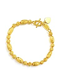 周生生 黄金(足金) 筒间珠手链 17厘米 14448b (13.21克)(亚马逊自营商品, 由供应商配送)