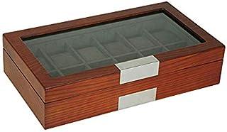 TIMELYBUYS 12 木质手表盒展示盒存储珠宝收纳盒带玻璃顶盖,不锈钢装饰和超大枕头 樱桃色 12 Watch CH ALUM