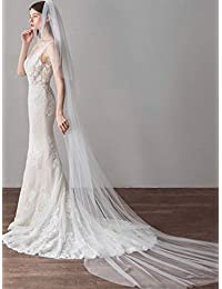 Unsutuo 大教堂 2 层新娘头纱 长款新娘薄纱头纱 带梳子 水滴头纱 切边 适合新娘