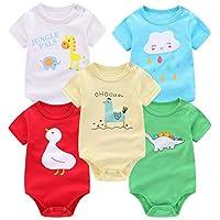 FLORNO 中性款嬰兒連體衣 5 件裝嬰兒短袖連體衣連體衣緊身衣短袖緊身衣褲 * *棉