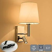 HARPER LIVING 1xE27/ES 垂直壁灯,带可调节 LED 阅读灯,1 个 USB 端口和 2 个开关,抛光镀铬表面,白色布罩 Polished Chrome and White Cylinder Shade 1151