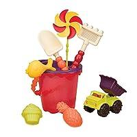 B.Toys 比乐 中桶沙滩玩具套装-木瓜红 儿童挖沙玩水玩具  婴幼儿童益智玩具 礼物  18个月+  BX1331Z