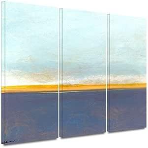 "ArtWall 0wei002c2436w 3 Piece ""Jan Weiss's Big Sky Country I"" Gallery Wrapped Canvas Artwork, 24"" x 36"""