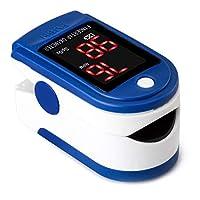 Buyter 手指尖脉搏血氧仪,心率监测仪+血氧饱和度监测带 LED 显示屏 SPO2 脉搏血氧仪 - 便携式脉搏血氧仪蓝色带挂绳