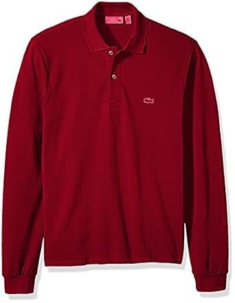 Lacoste 男式短袖凸纹经典修身 Polo 衫,L1312 枣红色 7