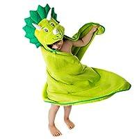Little Tinkers World 儿童高级连帽浴巾 | 恐龙设计 | 超柔软超大 | * 纯棉带帽浴巾 适合女孩和男孩