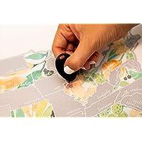 Jetsetter 地图刮伤您的旅行桃子植物水彩花卉美国地图(银色)