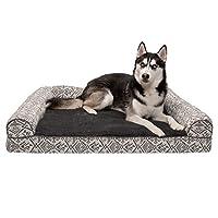 Furhaven 宠物狗床 | *沙发风格传统客厅沙发宠物床 w/狗和猫的可拆卸床罩 - 多种颜色和款式可选 Kilim Boulder Gray 特大号
