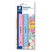 Staedtler 施德樓 56215PSBK2ST 粉彩標尺 (紙巾盒 適用于繪圖和線條,吸塑卡 帶 2 個標尺 時尚柔和顏色 長度 15 厘米)