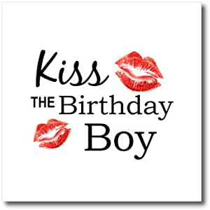 3dRose ht_151637_1 Kiss The Birthday Boy Funny Partying Humor Bday Party Joke Kisses Iron on Heat Transfer, 8 by 8-Inch, For White Material