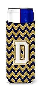 字母 D V 形图案*蓝和金色*瓶饮料绝缘器 Hugger CJ1057-DLITERK