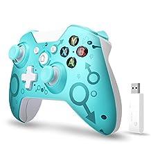 【2020*新版本】Xbox One無線控制器,W&O 無線電腦游戲手柄帶2.4GHZ無線適配器,兼容Xbox One/One S/One X/P3主機/Windows 7/8/10(藍色)