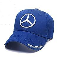 Wall Stickz Wesport 刺绣标志纯色可调节棒球帽男女旅行帽赛车马帽适合梅赛德斯-奔驰(浅蓝色)