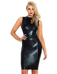 Honour 女式性感迷你连衣裙湿光黑色性感轮廓服装
