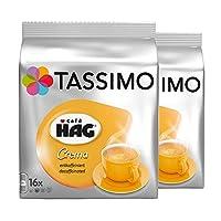Tassimo Café HAG Crema Decaffeinated,雨林联盟认证,2 个装,2 个 16 个 T 盘