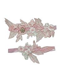 Ealafee 2019 性感蕾丝婚礼吊袜带新娘派对舞会吊袜带套装 2 件套 #9w-white 均码 GAT01-#8-A pink