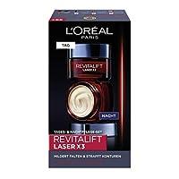 L'Oréal Paris 巴黎歐萊雅 透明質酸 日夜面部護理禮品套裝 Revitalift Laser x3 抗皺面霜