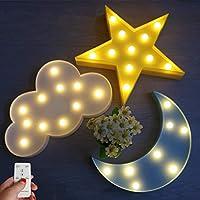 WINICE 可愛多彩 LED 夜燈,適合動物云星月亮,遙控和定時設置夜燈,適合兒童、嬰兒臥室 Cloud Moon Star Kit 小號