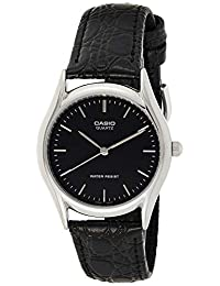 Casio MenMTP-1094E-1A analog 皮革 黑色 MTP-1094E-1A watches