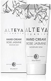 Alteya Organic Moisture 露手霜 – 经认证的*手皮肤护理霜,玫瑰水和茉莉提取物,保湿和软化 90ml