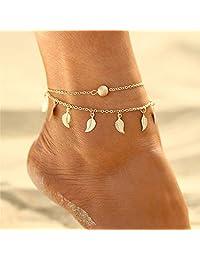 Aukmla 波西米亚层叠脚链手链金色吊坠脚链珠脚链沙滩脚链女士和女孩脚链-019
