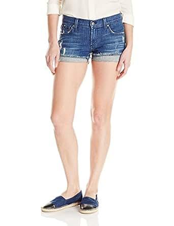 James Jeans 女士短款宽松修身平角短裤,Indio 蓝色 Indio Blue 27