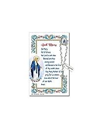 Needzo Hail Mary One Decade周年念珠翻领别针纪念品祈祷卡,5 7/8英寸