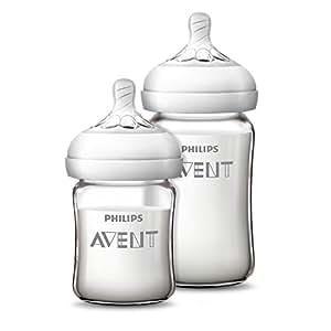 AVENT 新安怡 自然顺畅 宽口 玻璃 奶瓶 125ml+240ml 套装 SCF679/53 (原装进口奶嘴)