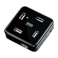 SANWA SUPPLY 山业 7口高速USB2.0集线器 多口分线器 附供电线 黑色 USB-HUB250BK(亚马逊自营商品, 由供应商配送)