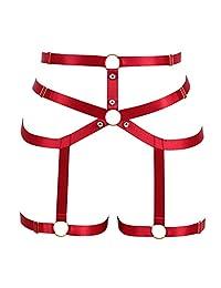 全笼身吊带内衣套装吊带文胸空心腰带加大码哥特式朋克节日装