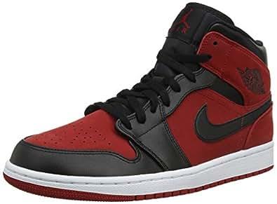 Nike 耐克 男式 Jordan Air 1 Mid 篮球鞋 Gym Red/Black-white 7 M US