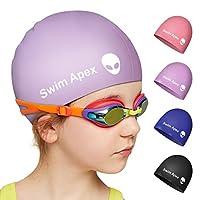 Swim Apex 硅胶儿童泳帽适合女孩男孩青少年(2-12岁),耐用硅胶泳帽适合儿童青少年男孩女孩,婴儿防水帽适合长发和短发带外星人印花