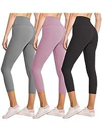 3 件装女式打底裤 - 不透视高腰收腹瑜伽裤健身跑步打底裤 - 加大码 3 Pack Capris Black,rosy Brown,light Grey Plus Size(L-XXL SIZE 14-20)