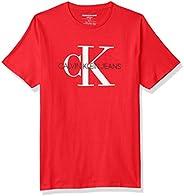Calvin Klein 男孩经典 CK 标志圆领 T 恤 火红 Large (14/16)