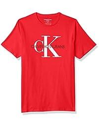 Calvin Klein 男孩经典 CK 标志圆领 T 恤 火红 3T