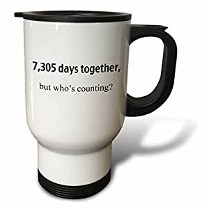 3dRose 9131 Days Together But Whos Counting Happy 25th Anniversary Stainless Steel Travel Mug, 14-Oz