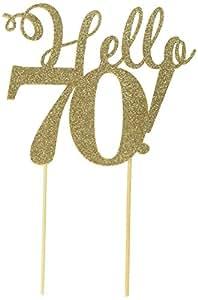 All About Details Hello 70! 蛋糕装饰,1 件,70 岁生日,派对装饰,闪光装饰 金色 6in wide, 5in tall plus 4in skewers CATHE70