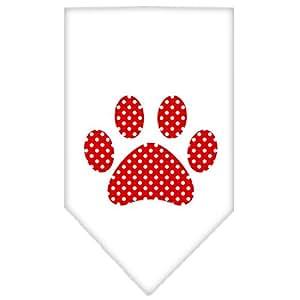 红色瑞士圆点爪印印狗围巾 白色 小号