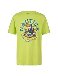 Nautica 诺帝卡男童短袖图形徽标丝网印花 T 恤 莱姆绿 Small (4)