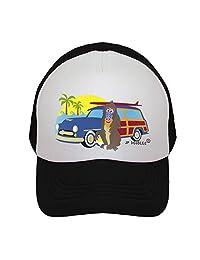 JP DOoDLES Surfer Monkey with Woodie 儿童卡车司机帽。 儿童棒球帽提供婴儿、幼儿和青少年尺码。