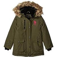 U.S. Polo Assn. 女童派克大衣夾克,帶人造皮草帽,