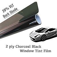 "The Online Liquidator 304.8 米黑色车窗贴膜未切割卷 - 深色遮阳 20% VLT 适用于汽车和住宅隐私玻璃 方便 DIY 24"" x 10' ft"