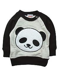《秋冬春对应》 GARACH(GARACH) 里毛 毛茸茸的熊猫吊带衫 NO.AH-1831605 [対象] 72ヶ月 ~ 黑色 120