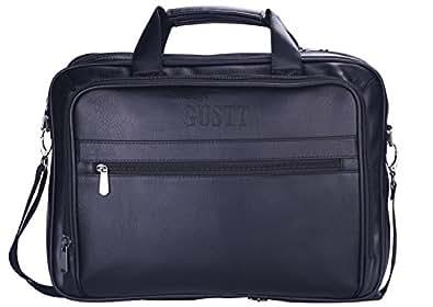 GUSTT Men's Genuine Leather RFID Blocking Secure Briefcase Shoulder Messenger Bag For Macbook Laptop Black4c