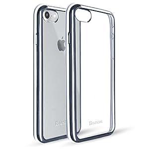 iPhone 8 手机壳,iPhone 7 手机壳 Baesan 优质柔韧柔软 TPU 缓冲硅胶手机壳带电镀框架,适用于 iPhone 8 (2016)/iPhone 7 (2017) - 金色玫瑰金银太空灰 太空灰
