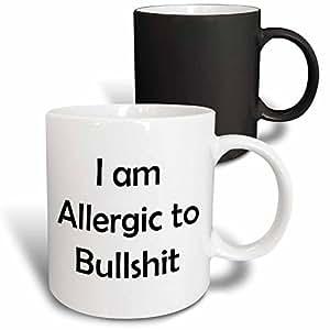 3drose xander 趣味标语–I AM allergic TO bullshit–马克杯 黑色/白色 11-oz Magic Transforming Mug