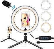 10.2 英寸(约 25.9 厘米)环形灯带支架,LED 环形灯带支架和手机支架适用于 YouTube 视频直播化妆摄影,可调光自拍环灯带 3 种灯光模式和 11 种亮度等级