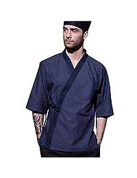 XINFU 男式日本棉厨师短袖寿司男士餐厅和服厨师夹克